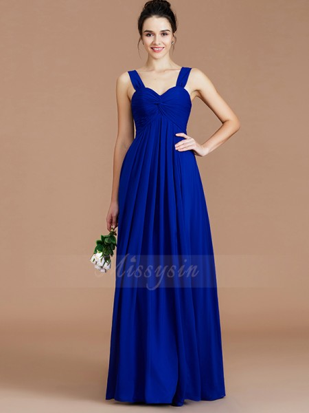 Empire Floor-Length Sweetheart Sleeveless Royal Blue Bridesmaid Dresses