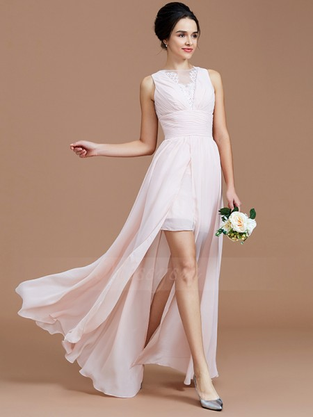 A-Line/Princess Floor-Length Jewel Sleeveless Pearl Pink Bridesmaid Dresses