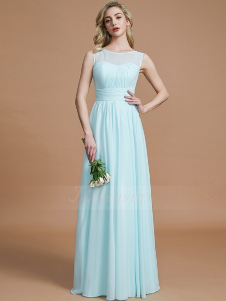 A-Line/Princess Floor-Length Scoop Sleeveless Light Sky Blue Bridesmaid Dresses