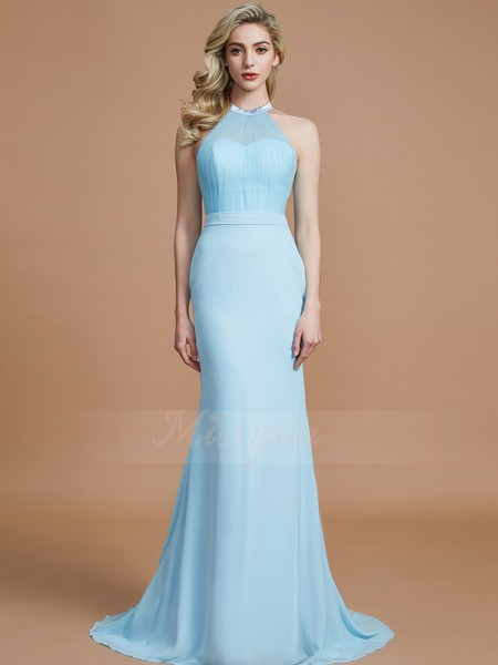 Trumpet/Mermaid Sweep/Brush Train Scoop Sleeveless Light Sky Blue Bridesmaid Dresses