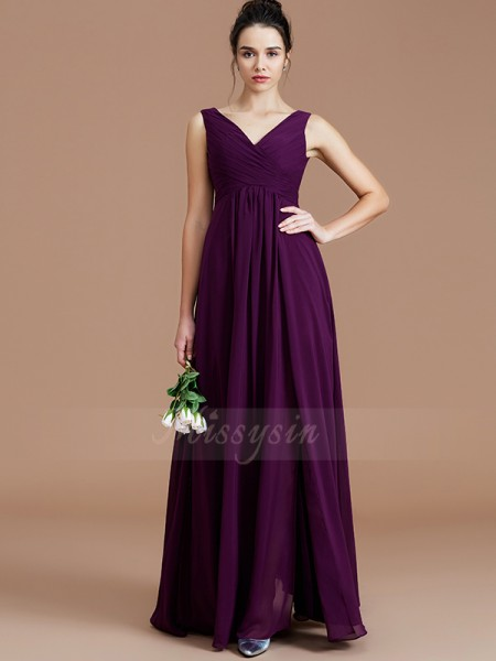 A-Line/Princess Floor-Length V-neck Sleeveless Grape Bridesmaid Dresses