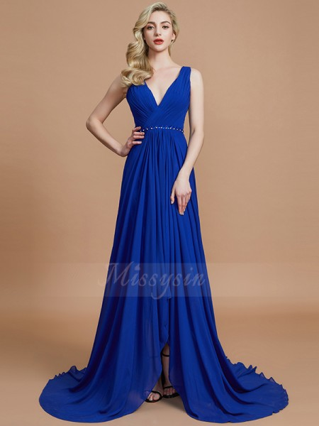 A-Line/Princess Sweep/Brush Train V-neck Sleeveless Royal Blue Bridesmaid Dresses