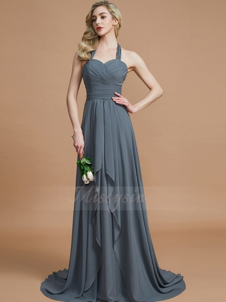 A-Line/Princess Sweep/Brush Train Halter Sleeveless Brown Bridesmaid Dresses