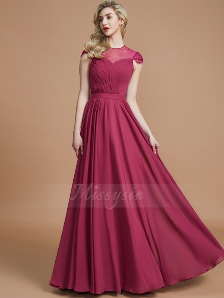 A-Line/Princess Floor-Length Scoop Short Sleeves Burgundy Bridesmaid Dresses