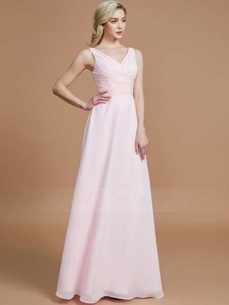 A-Line/Princess Floor-Length V-neck Sleeveless Pink Bridesmaid Dresses