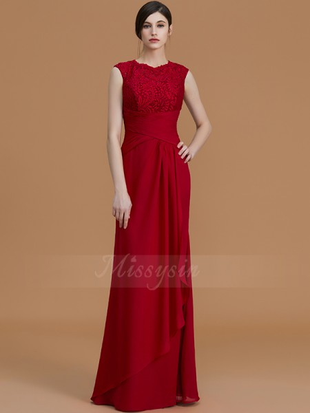 Sheath/Column Floor-Length Jewel Sleeveless Burgundy Bridesmaid Dresses
