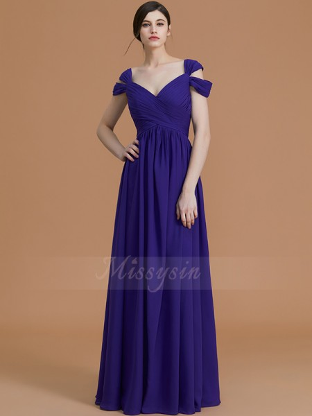 A-Line/Princess Floor-Length Off-the-Shoulder Sleeveless Regency Bridesmaid Dresses