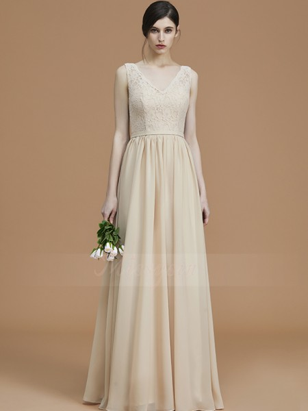 A-Line/Princess Floor-Length V-neck Sleeveless Champagne Bridesmaid Dresses