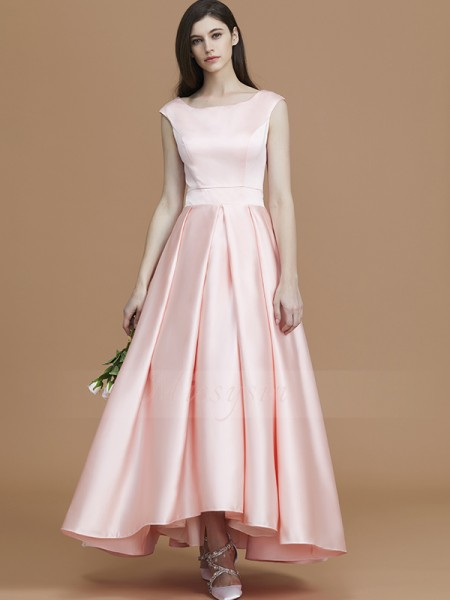A-Line/Princess Asymmetrical Bateau Sleeveless Pearl Pink Bridesmaid Dresses