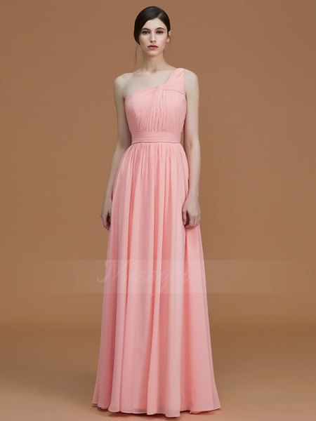 A-Line/Princess Floor-Length One-Shoulder Sleeveless Pink Bridesmaid Dresses
