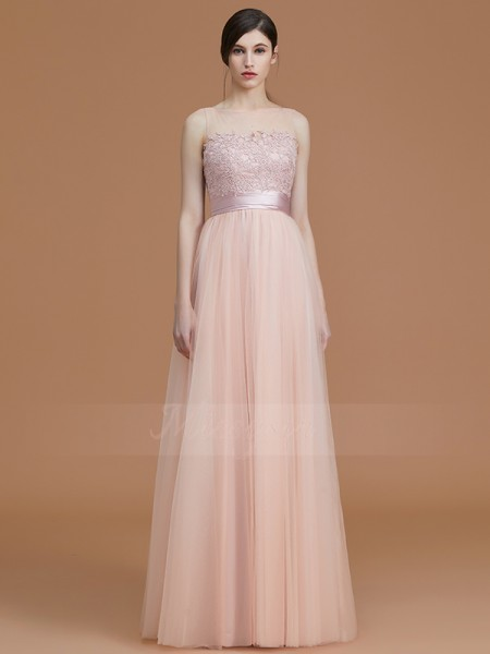 A-Line/Princess Floor-Length Bateau Sleeveless Pink Bridesmaid Dresses