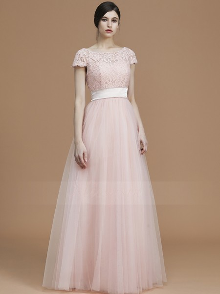 A-Line/Princess Floor-Length Bateau Short Sleeves Pearl Pink Bridesmaid Dresses
