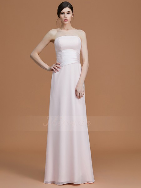 A-Line/Princess Floor-Length Strapless Sleeveless Pearl Pink Bridesmaid Dresses
