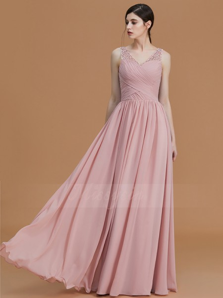 A-Line/Princess Floor-Length V-neck Sleeveless Pearl Pink Bridesmaid Dresses