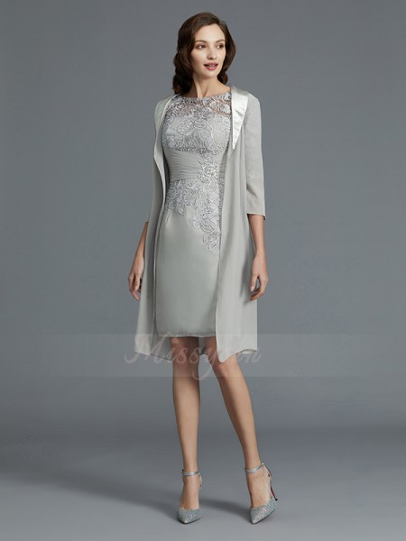 Sheath/Column Short/Mini 1/2 Sleeves Scoop Silver Mother of the Bride Dresses