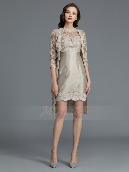Sheath/Column Knee-Length Sleeveless Scoop Silver Mother of the Bride Dresses