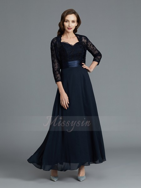 A-Line/Princess Ankle-Length Sleeveless Sweetheart Dark Navy Mother of the Bride Dresses