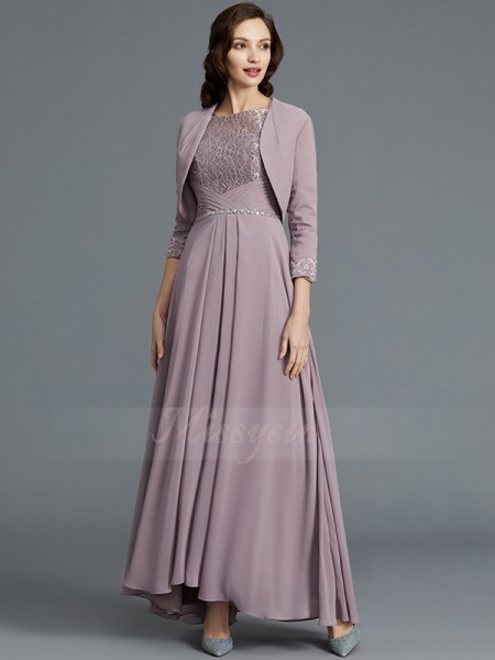 A-Line/Princess Asymmetrical 1/2 Sleeves Scoop Lilac Mother of the Bride Dresses