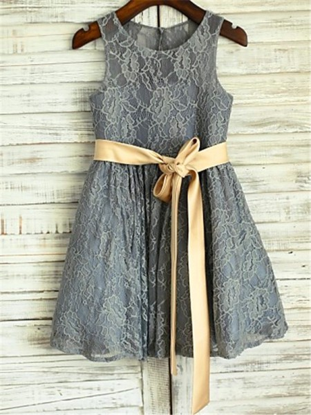 Sleeveless Scoop Tea-Length Grey Flower Girl Dresses