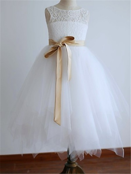 Sleeveless Scoop Tea-Length White Flower Girl Dresses