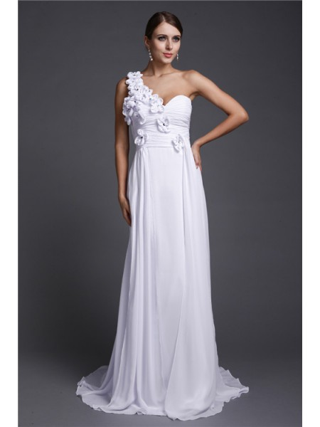 Sleeveless One-Shoulder Sweep/Brush Train White Dresses