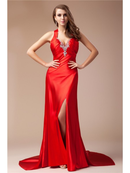 Sleeveless V-neck Sweep/Brush Train Red Dresses