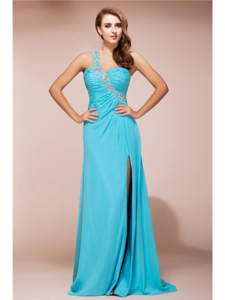 Sleeveless One-Shoulder Sweep/Brush Train Blue Dresses