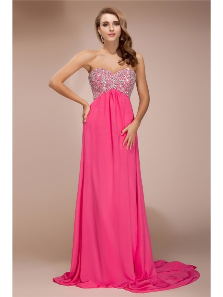Sleeveless Sweetheart Sweep/Brush Train Pink Dresses