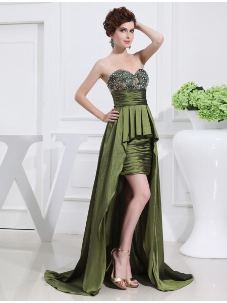 Sleeveless Sweetheart Asymmetrical Dark Green Dresses