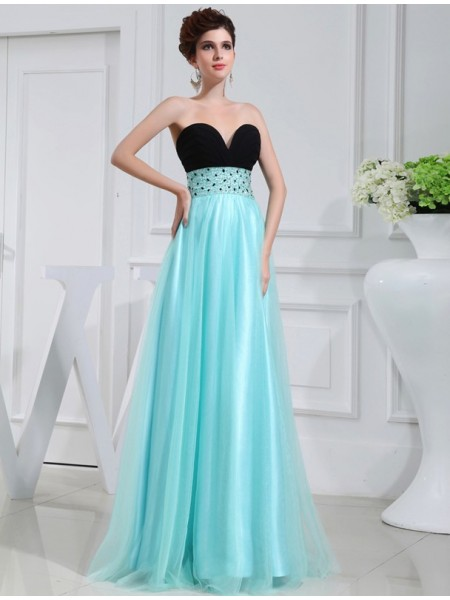 Sleeveless Sweetheart Long Blue Dresses
