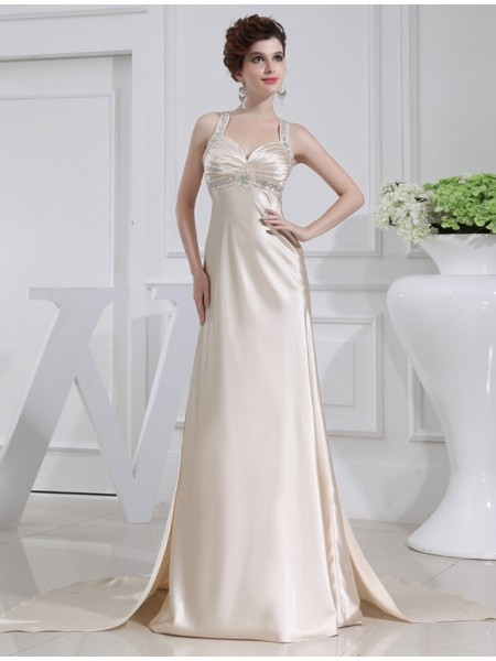 Sleeveless Straps Sweep/Brush Train Champagne Dresses