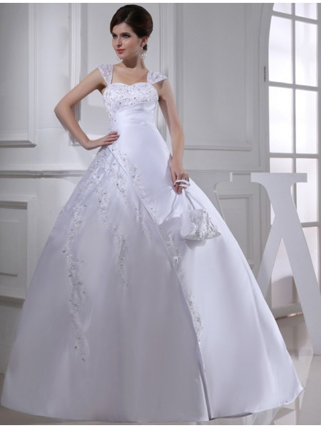 Sleeveless Straps Court Train White Wedding Dresses