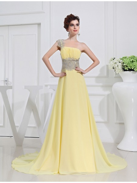 Sleeveless One-Shoulder Sweep/Brush Train Daffodil Dresses