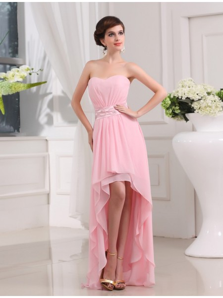 Sleeveless Sweetheart Asymmetrical Pearl Pink Dresses