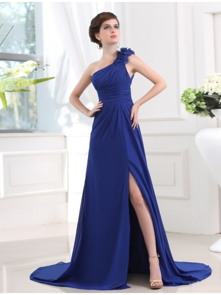 Sleeveless One-Shoulder Sweep/Brush Train Royal Blue Dresses
