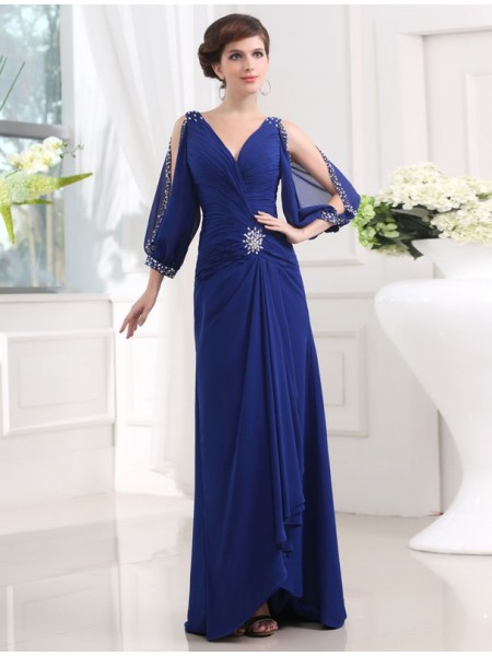 3/4 Sleeves V-neck Long Royal Blue Dresses