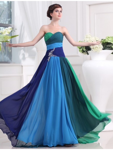 Sleeveless Sweetheart Sweep/Brush Train Multi Colors Dresses