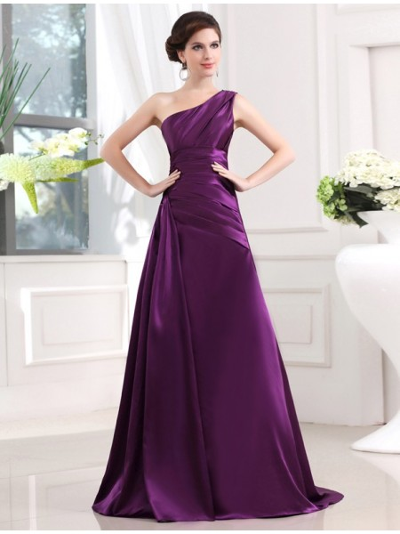 Sleeveless One-Shoulder Sweep/Brush Train Grape Dresses