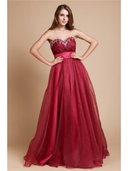 Sleeveless Sweetheart Long Burgundy Dresses