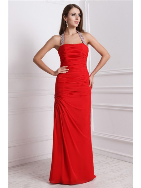 Sleeveless Halter Long Red Dresses