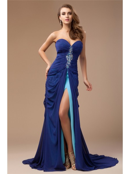 Sleeveless Sweetheart Sweep/Brush Train Royal Blue Dresses