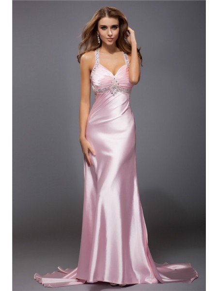 Sleeveless Spaghetti Straps Sweep/Brush Train Pearl Pink Dresses