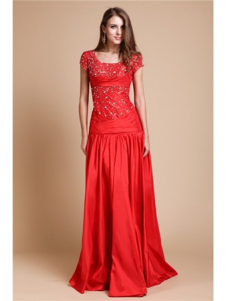 Short Sleeves Scoop Long Red Dresses