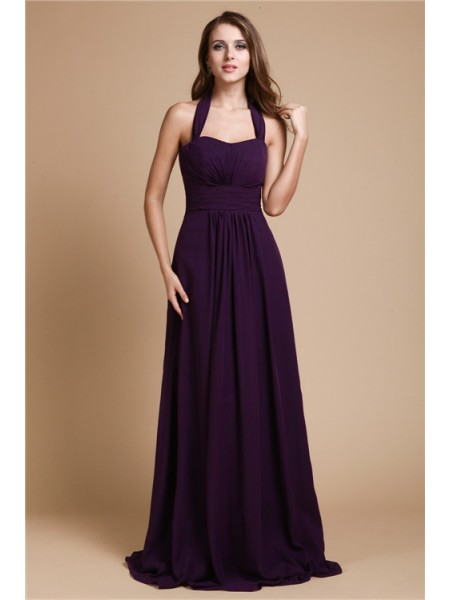 Sleeveless Halter Long Lilac Bridesmaid Dresses