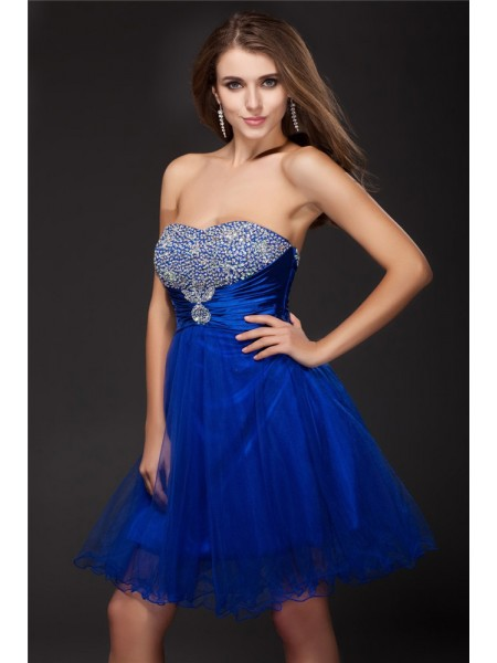 Sleeveless Strapless Short Royal Blue Dresses