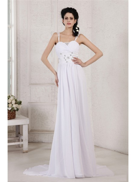 Sleeveless Spaghetti Straps Court Train White Wedding Dresses
