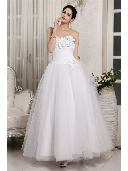 Sleeveless Sweetheart Ankle-Length White Wedding Dresses