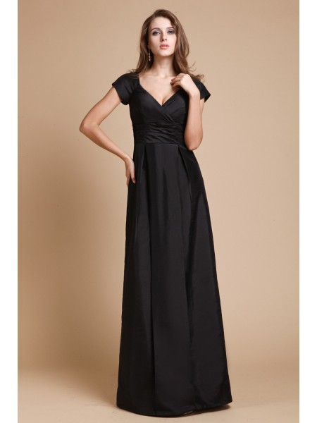 Short Sleeves V-neck Long Black Dresses