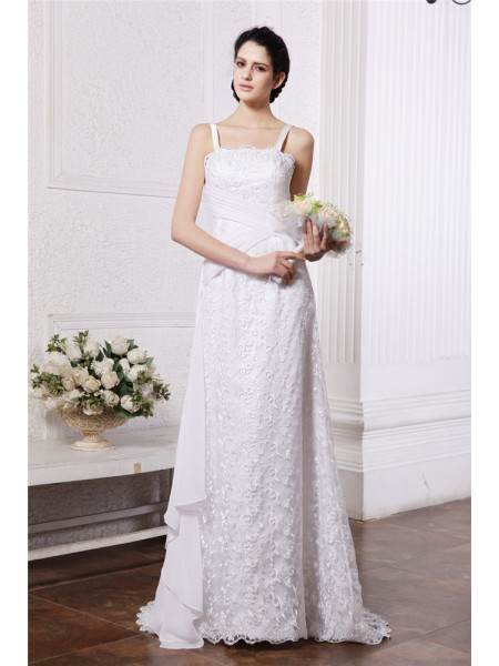 Sleeveless Square Sweep/Brush Train White Wedding Dresses