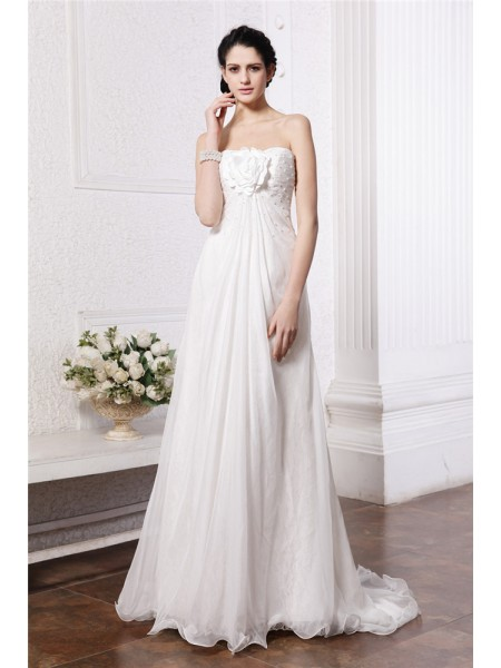 Sleeveless Strapless Sweep/Brush Train White Wedding Dresses